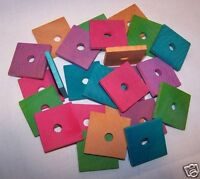 "25 Colored Wood Flats Bird Toy Parts 1-1/2"" x 1-1/2"" x 3/16"" Small to Med Parrot"