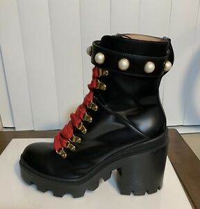 Gucci Black Trip Ankle Boot With Pearl Straps Size 38