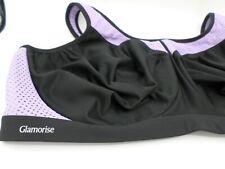 Glamorise Sports Bra Black Purple Size 46F Under Wire High Impact