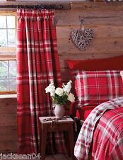 Edimbourg Rouge Plaid Mélange de coton 168cm X 183cm RIDEAUX à plis serrés
