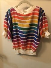 Vintage '80s Ms. Paquette California Women's Rainbow Colored Top Size Medium