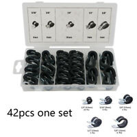 42Pcs Rubber Lined P Clips Cable Hose Pipe Clamps Holder Air Clip Clamp 6.5-16mm