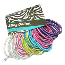 42pc SNAG FREE NO METAL HAIR ELASTICS BANDS SATIN SHEEN PASTELS BOBBLE PONY TAIL