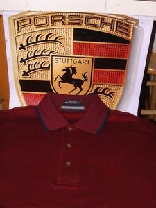 PORSCHE DESIGN NOS BURGUNDY BIRD'S EYE KNIT POLO SHIRT USA:SIZE S, EURO M NIBWT!