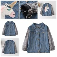 Girls Kids Spring Jeans Jacket Long Sleeve Sequined Casual Wear Coats Outerwear