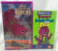 (2) Barney Videos (VHS) Barney's Alphabet Zoo - Singing Circus Purple Dinosaur