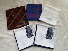 Dior Moschino gent's men's Lot of 5 Vintage cotton Hankies Handkerchief branded
