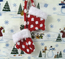 Christmas Tree Vintage Holiday Decorative Mittens Red & White Man Made Material