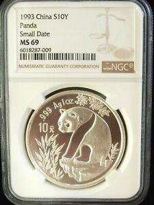 1993 China Panda Small Date 10 Yuan NGC MS69 1 Ounce Silver Coin