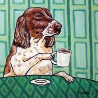 english springer spaniel coffee dog art tile coaster