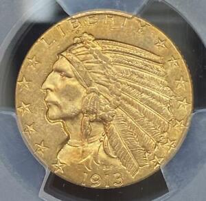 1913 Gold $5 Indian Head Half Eagle PCGS MS62 Shield