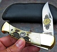 Vintage Schrade USA 100th Anniversary Genuine Stag Large Lockback Folding Knife
