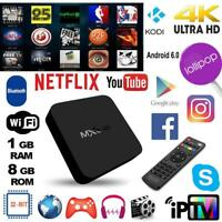 MXQ 4Kx2K Smart TV BOX Android Quad Core WiFi 8GB Player w/ Télécommande Vocale