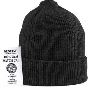 Military 100% Wool Knit Winter Hat Wool Watch Cap USA Made