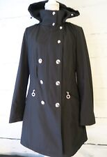 Women's Calvin Klein Black Double Breasted Black Trench Coat With Hood Large
