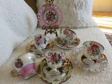 VINTAGE  TEA CUP AND SAUCER LOT PIERCED FINE CHINA MADE IN JAPAN