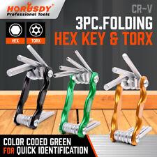 3 PC Folding Hex Keys Allen wrench Tamper Proof Torx Star Key Set Metric & SAE