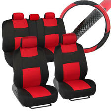 Front & Rear Polyester Car Seat Covers + PU Leather Steering Wheel Cover Red 10p