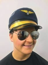 Deluxe High Quality Blue Airline Pilot Hat Cap Mens Captain Fancy Dress Accesory