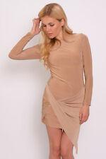 Rare London Front Wrap Slinky Dress Size 8 Camel Beige UK FREEPOST
