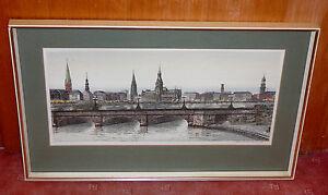 C. Hensch - Große farbige Radierung - Hamburg - Blick über die Binnenalster