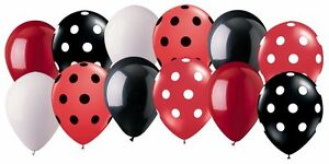 12 pc Black & Red Ladybug Inspired Latex Balloon Party Decoration Minnie Mouse