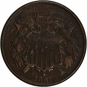 1867 Two Cent Piece XF/AU