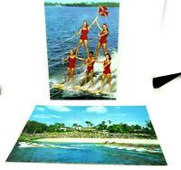 Vintage Postcard Lot Of 2 Cypress Gardens Aquamaids Water Ski Show Florida