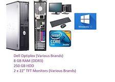 "FAST DELL COMPUTER 2x 22"" HD LCD MONITOR CHEAP WIN 10 TRADING PC WiFi 8GB RAM"