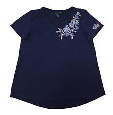 NWT Women's Solid Indigo RXB Embroidered Top Size Large L