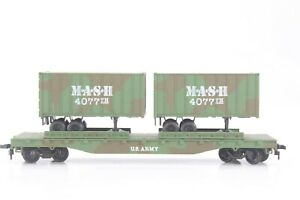 """HO-Scale Bachmann 50ft US Army """"MASH"""" TOFC Flat Car w/ Trailers, New"""