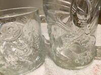 1995 McDonalds Batman Forever Collectible Glass Mug Set of 2 Batman, The Riddler