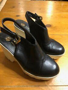 River Island Black Platforms Almond Toe Leather Shoes Size 8