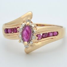 ESTATE RUBY RED DIAMOND RING SOLID 14 GOLD MARQUISE HALO SET SZ 9.75 (GP2003652)