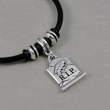 Tombstone Bracelet - Halloween European Charm Bracelet - Black Leather Cord NEW