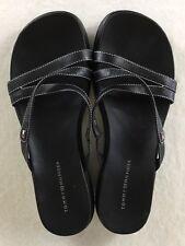 60983d011424 Tommy Hilfiger Sandals Women s Size 10M Black Leather Strappy Slides Slip On