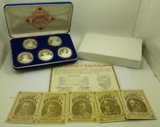 1992 Fathers of Baseball 5-Piece Proof Silver Rounds Boxed Set .999 Fine Silver