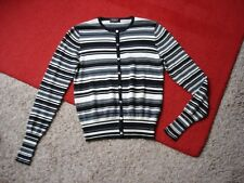 New FURLA Silk Cashmere Striped Button Up Cardigan Grey Black White Size S NWOT