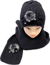 Lady Womens Winter Knit Scarf & Hat Beanie Flower Pearl Set Warm Scarves New