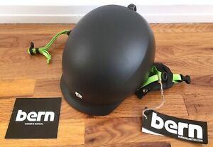 "*NEW* Small Bern ""Team"" Baker Ski Helmet w/ Earflaps - Matte Black & Green *NWT*"