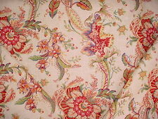 2-7/8Y DURALEE CLARANCE REDS / EMERALD GREEN FLORALS DRAPERY UPHOLSTERY FABRIC
