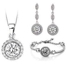 Bridal Luxury Jewellery Set White Diamante Drop Earrings Necklace, Bracelet S786