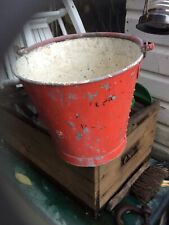 More details for vintage red galvanised steel fire bucket with handle