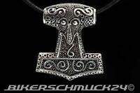 Thors Hammer Mjölnir Blitz Silberanhänger 925 Silber 39 Gramm mit Band Geschenk