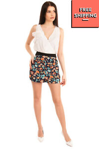 ANGEL EYE Crepe Shorts Size M Floral Pattern Contrast High Waist Zip Fly