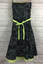 Ruby Rox Strapless Party Dress Size 9 Black White Floral Print Lime Green Tulle