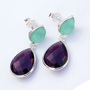 Aqua Chalcedony Faceted Amethyst Purple 925 Sterling Silver Drop Light Weight