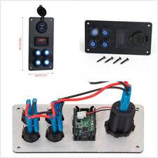 Multifunction Car On-Off Blue LED Rocker Switch Panel Voltmeter Gauge & Dual USB