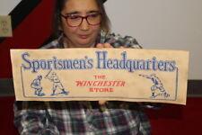 Vintage 1930's Sportsmen's Headquarters Winchester Store Baseball Hunting Sign