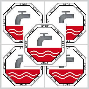5 Aufkleber 5cm Sticker Stop Taste WC Bad 00 Toilette Wasser Spülung Spülkasten